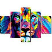 Quadro Painel Mosaico Decorativo 5 Pçs Leao de Juda Colorido