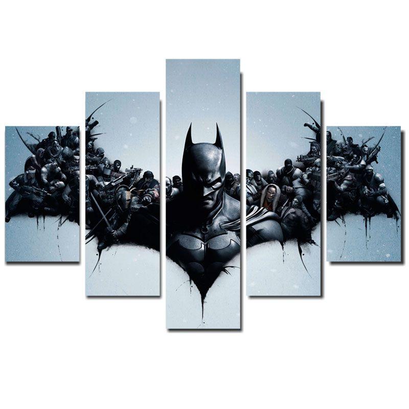 Quadro Painel Mosaico Decorativo 5 Partes Batman Arkhan