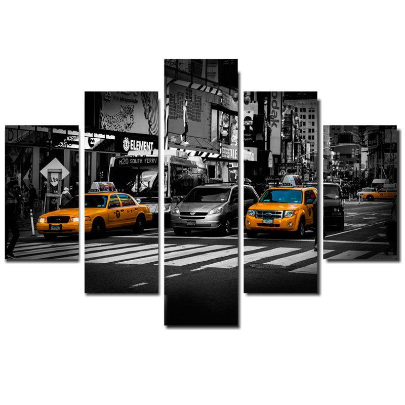 Quadro Painel Mosaico Decorativo 5 Partes Manhattan NY Taxi