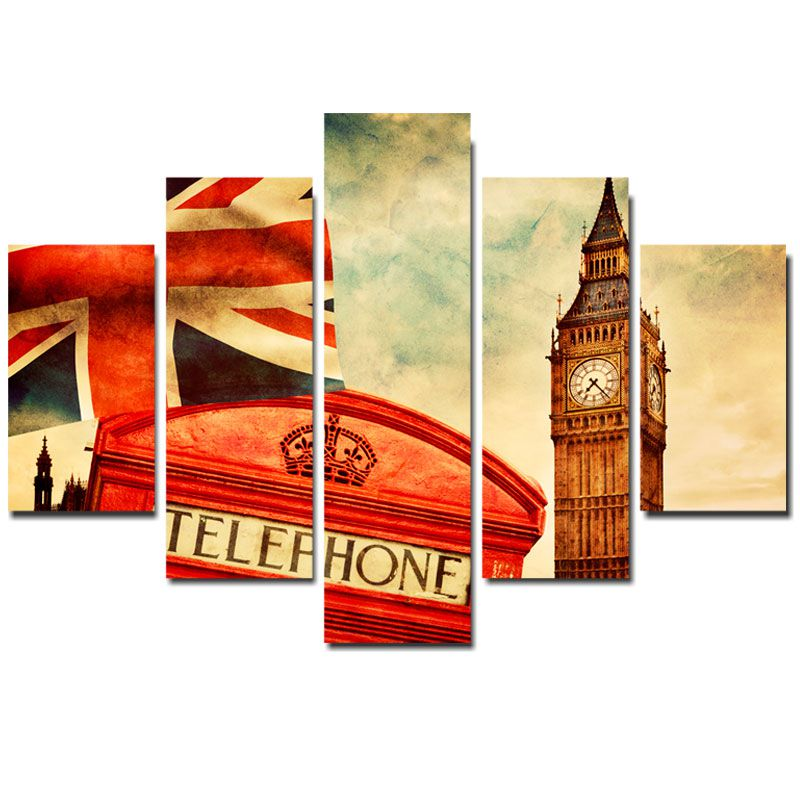 Quadro Painel Mosaico Decorativo 5 Partes Telefone Londres