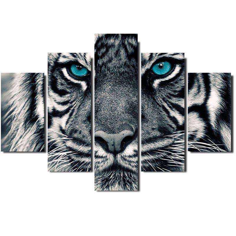 Quadro Painel Mosaico Decorativo 5 Partes Tigre Olhos Azuis