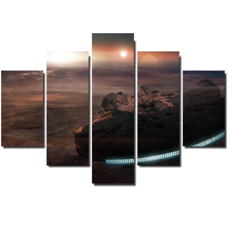 Quadro Painel Mosaico Decorativo 5 Pçs Star Wars Millenium