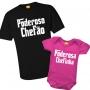 Kit Camiseta e Body - Tal Pai Tal Filha - Poderoso Chefão e Poderosa Chefinha