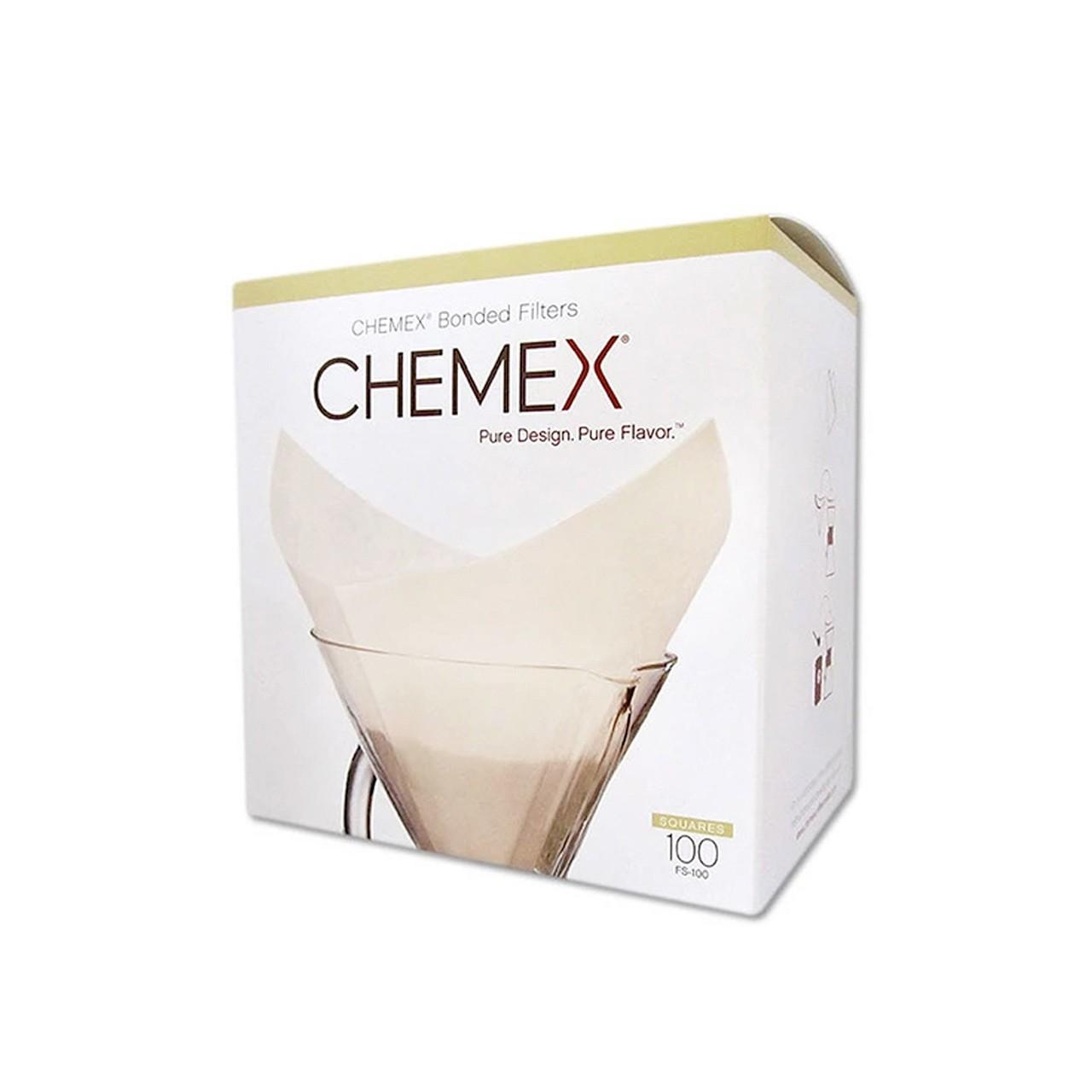 Filtro quadrado pré dobrado branco Chemex - 100un