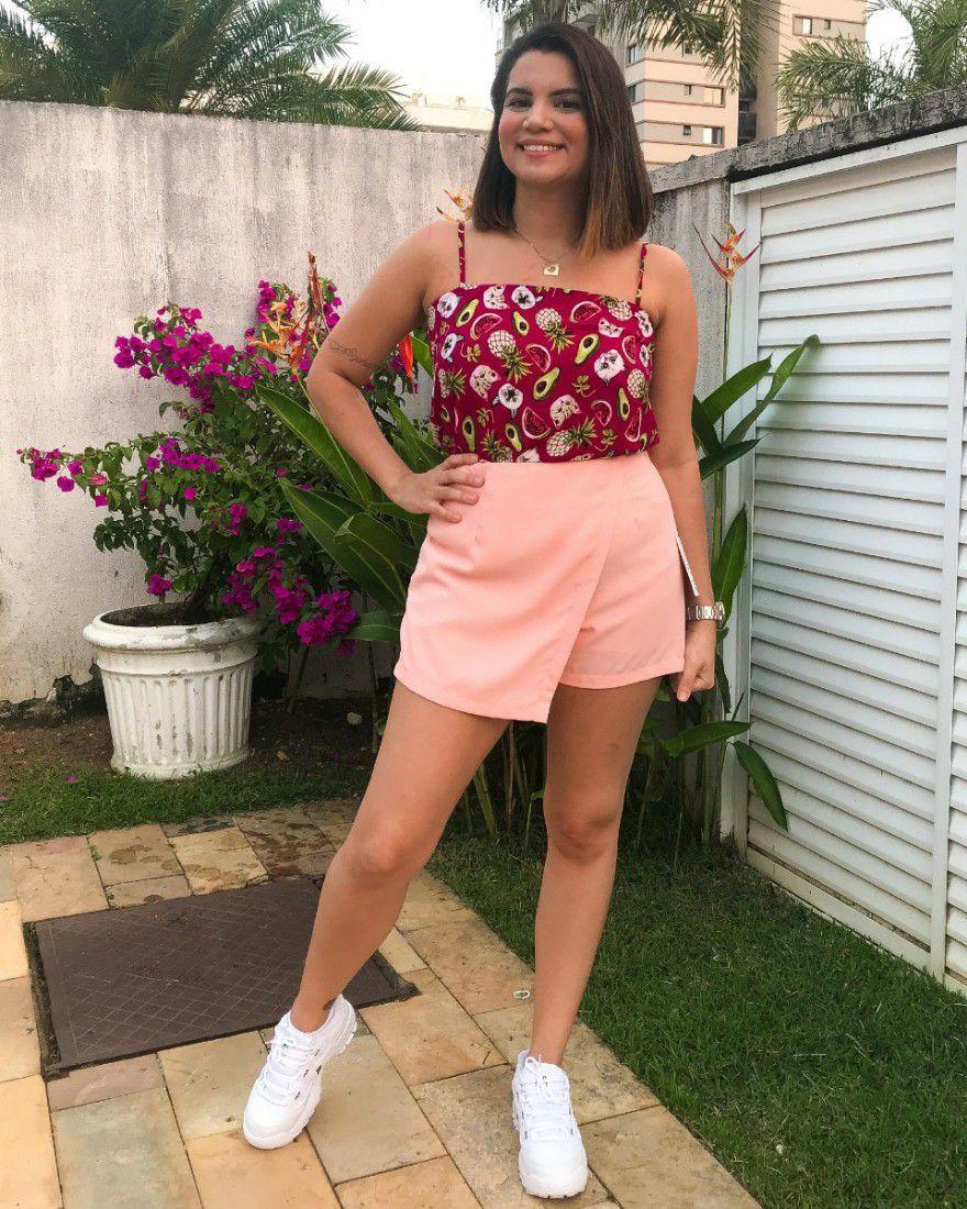 Short saia crepe rosé