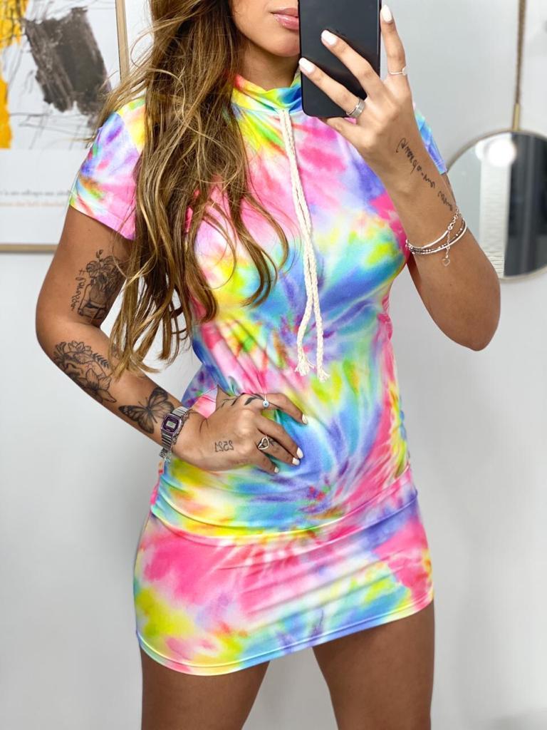 Vestido cadarço Tie dye