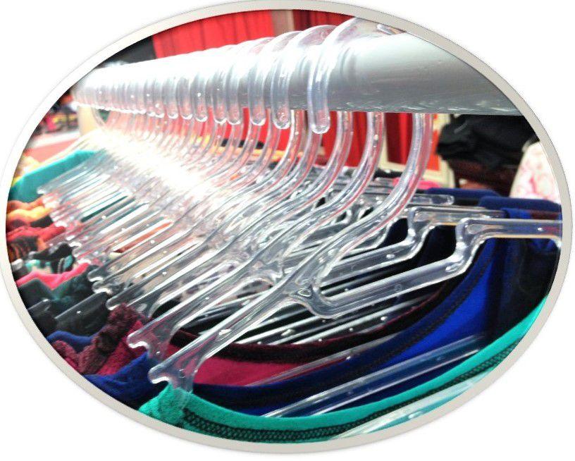 Cabide Acrílico  Cavado Transparente  Caixa com 60  Unidades