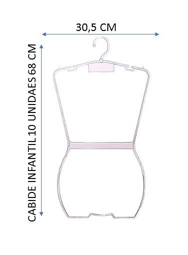 Cabide Acrílico Silhueta Collant Infantil  Transparente 10 Peças