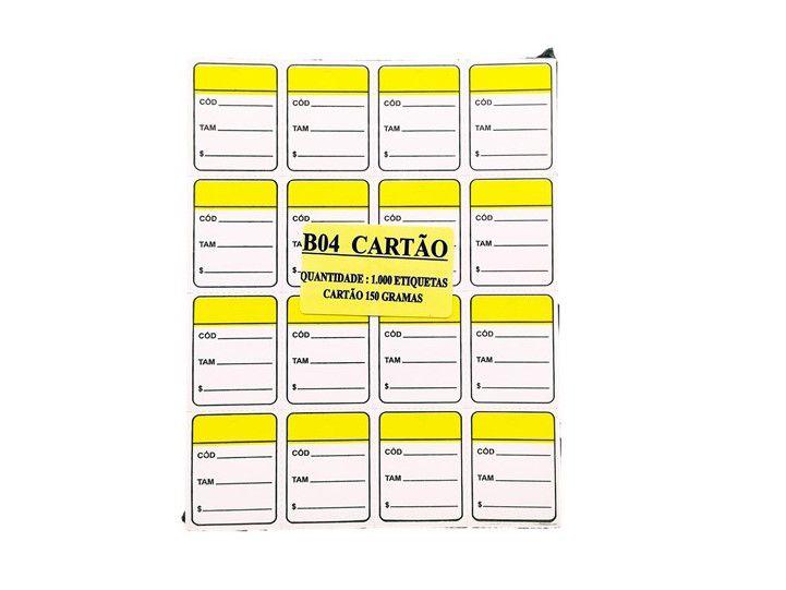 Etiqueta Para Roupas Caixa com 5000 Unidades 3 x 4  Amarelo