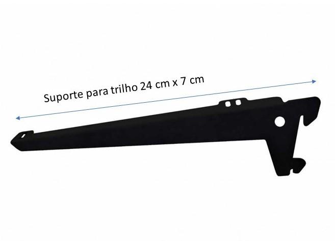SUPORTE COM ABA PARA PRATELEIRAS  CAIXA COM 20 UNIDADES 24  CM PRETO