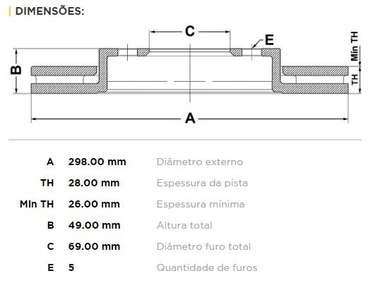 Disco De Freio Dianteiro Hyundai Santa Fe 2.7 01/05