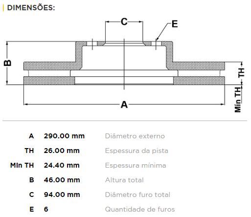 Disco De Freio Dianteiro Pajero Full 3.2/3.8 01/06