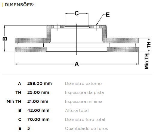 Disco Freio Dianteiro Aro 15 Vectra 2.0/2.4 16v 94/
