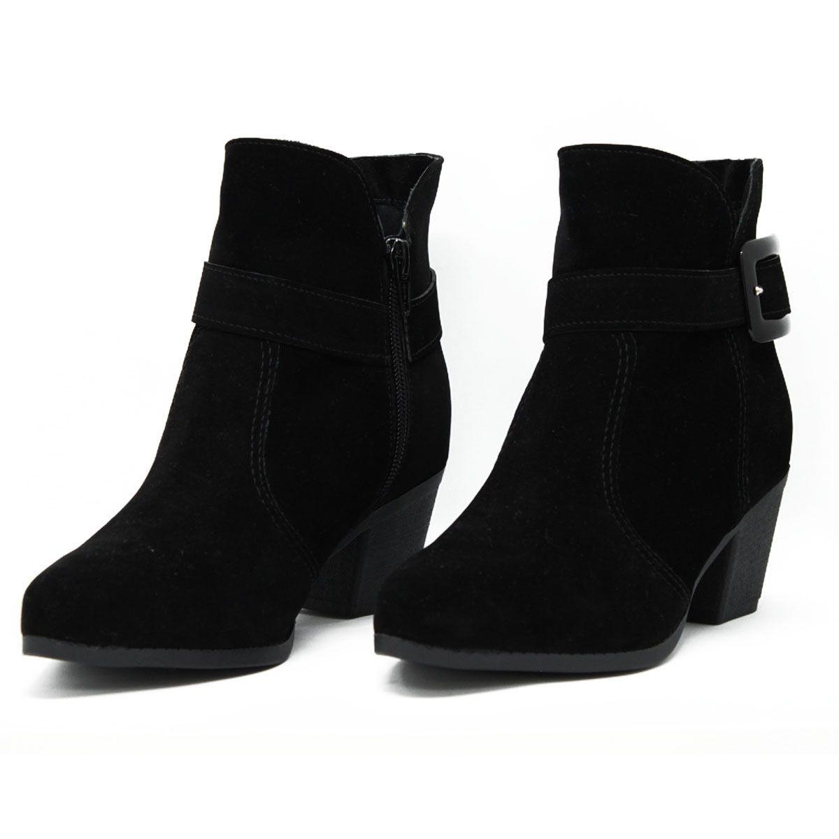 Bota Ankle Boot Feminina Salto Baixo com Fivela