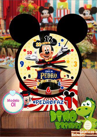 Relógio de mesa Mickey circo