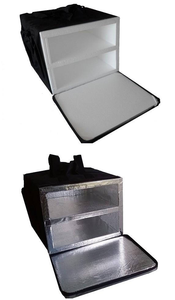 Bolsa Mochila para Entrega de Pizza Lanches Motoboy Térmica com ou sem Alumínio 2 Divisórias BP 40cm 44cm 50cm 53cm  - GuerreiroOnline