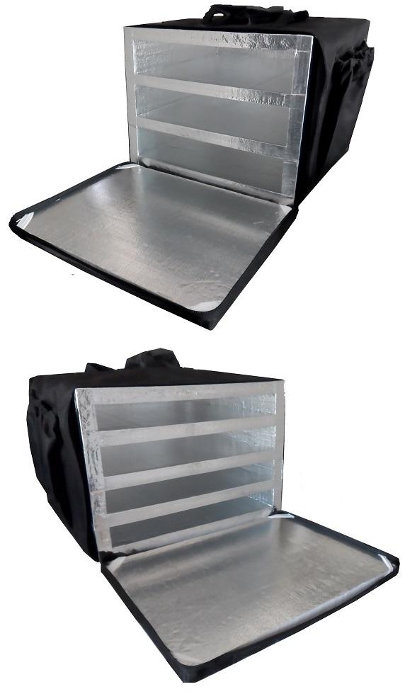 Bolsa Mochila Térmica para Pizza Motoboy Revestida com Alumínio 40cm 44cm 50cm 53cm 3 ou 4 Divisórias   - GuerreiroOnline