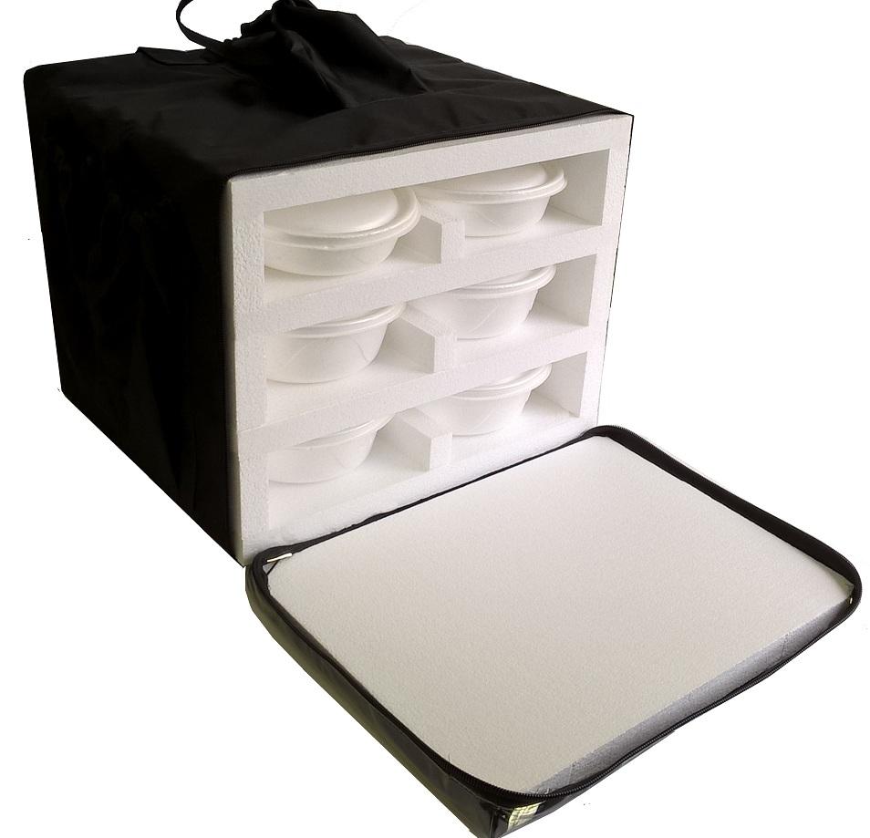Bolsa Mochila Motoboy Para 12 ou 16 Marmitex de Isopor Redonda N°8/9  - GuerreiroOnline