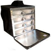 Bolsa Mochila Motoboy Para 16 Marmitex de Isopor Redonda N°8/9 Revestida com Alumínio Iso16al
