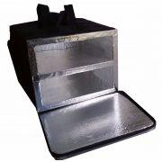 Bolsa Mochila Para Entrega De Pizza Térmica Motoboy Com Caixa de Isopor 2 Divisórias Revestida com Alumínio 40cm 44cm 50cm 53cm
