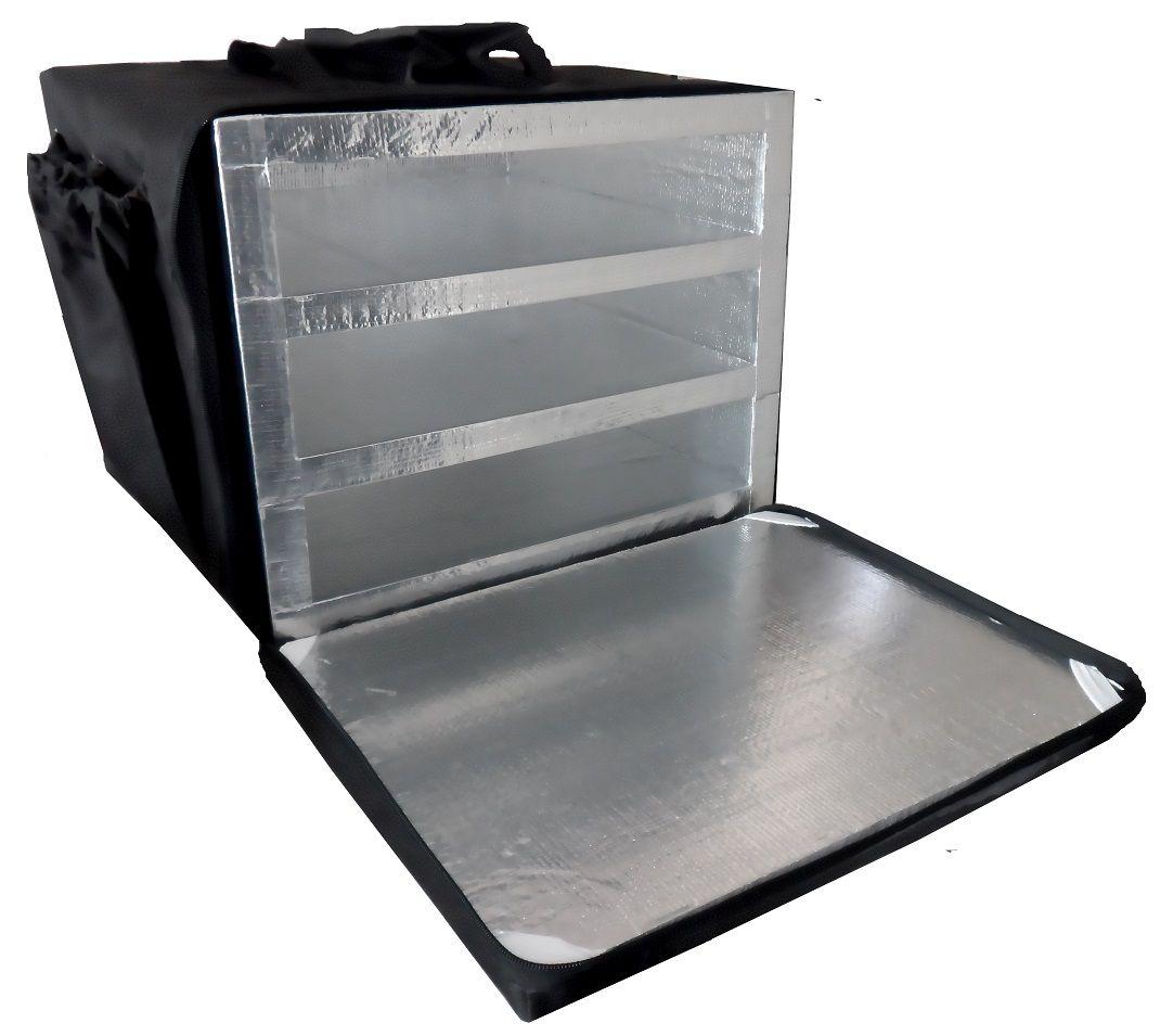 Bolsa Mochila Pizza Motoboy 3 Divisórias Alumínio 40cm 2dval  (para caixas de pizza com 40cm por fora)  - GuerreiroOnline