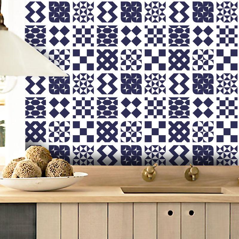 Papel de Parede Azulejo Átrio Azul Marinho  - TaColado