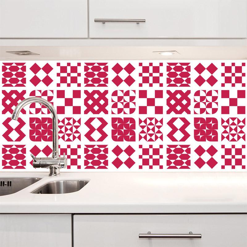 Papel de Parede Azulejo Átrio Rosa  - TaColado