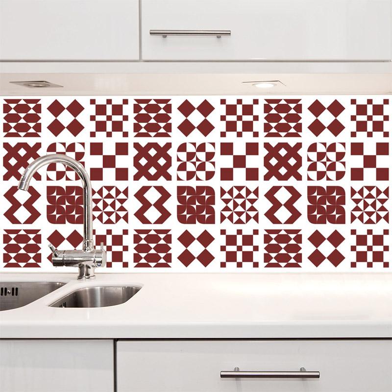 Papel de Parede Azulejo Átrio Vermelho Escuro  - TaColado
