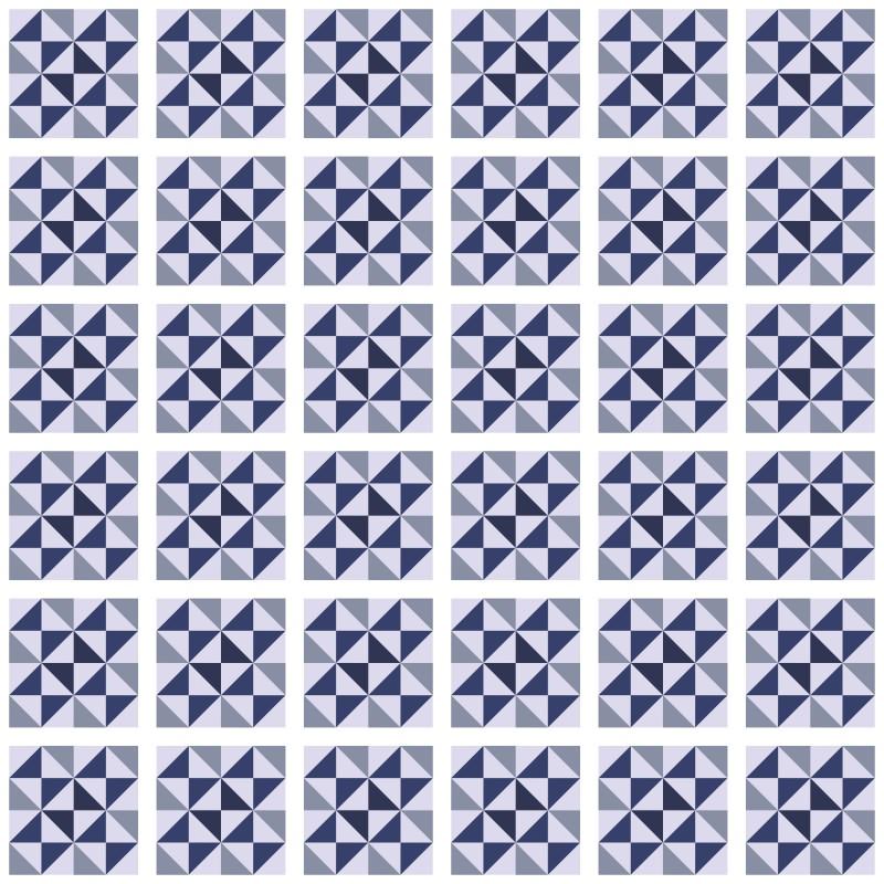 Papel de Parede Azulejo Delta Azul  - TaColado