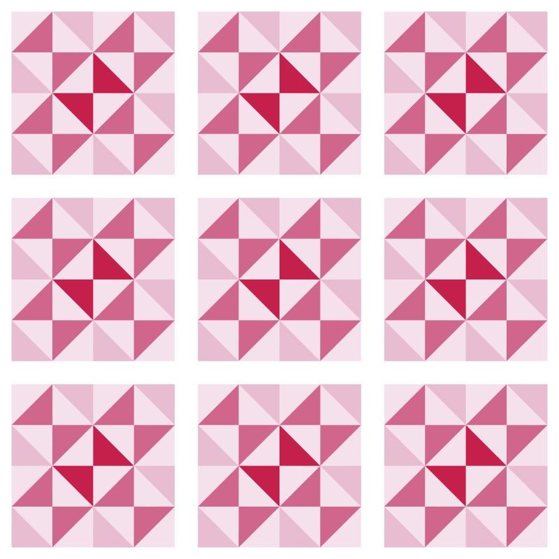 Papel de Parede Azulejo Delta Rosa  - TaColado
