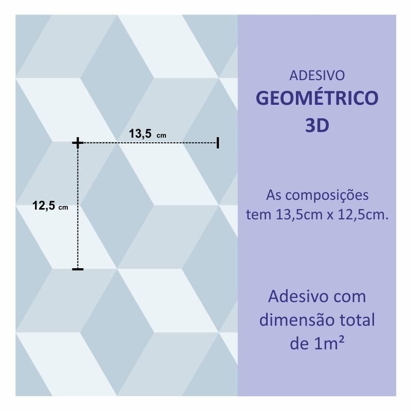 Papel de Parede Geométrico 3D Azul   - TaColado