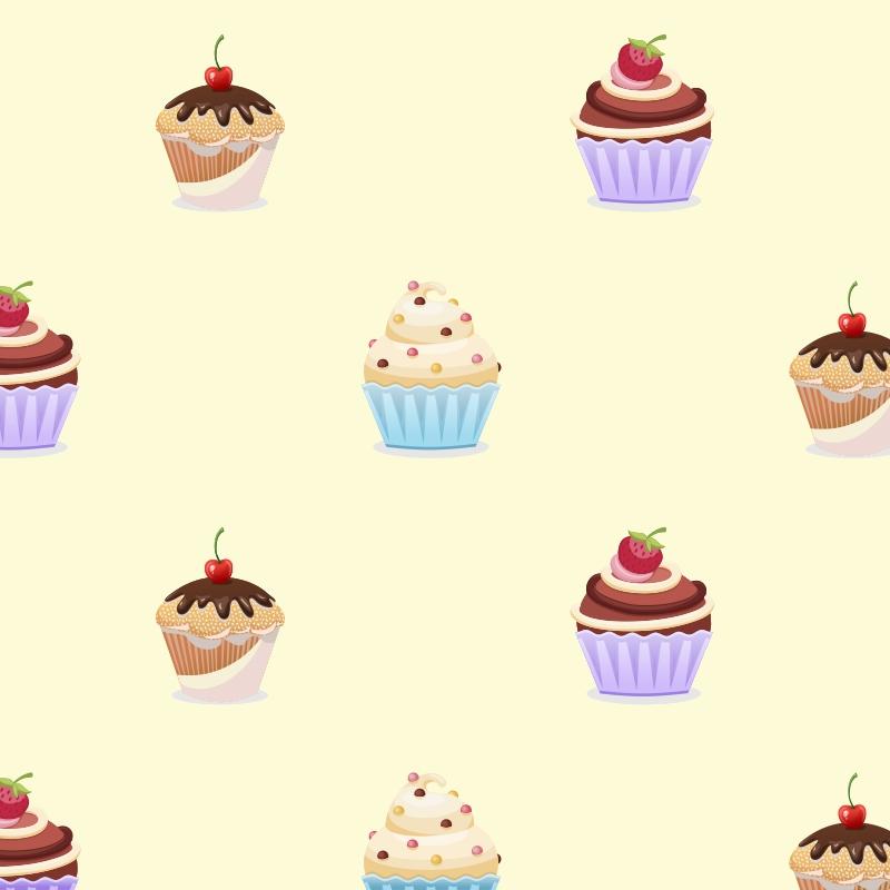 Papel de Parede Cupcakes Creme  - TaColado