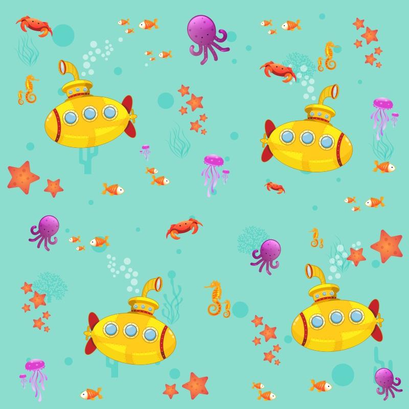 Papel de Parede Submarino Verde Água  - TaColado