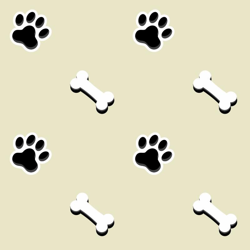 Papel de Parede Patas Cachorro Creme  - TaColado