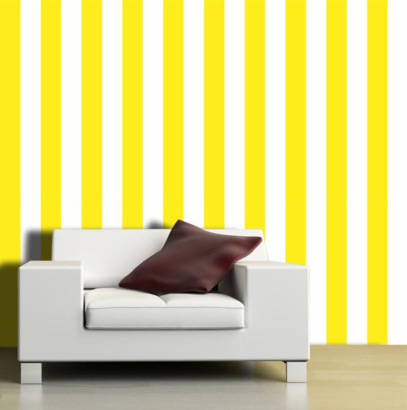 Papel de Parede Listras Fortes Amarelo