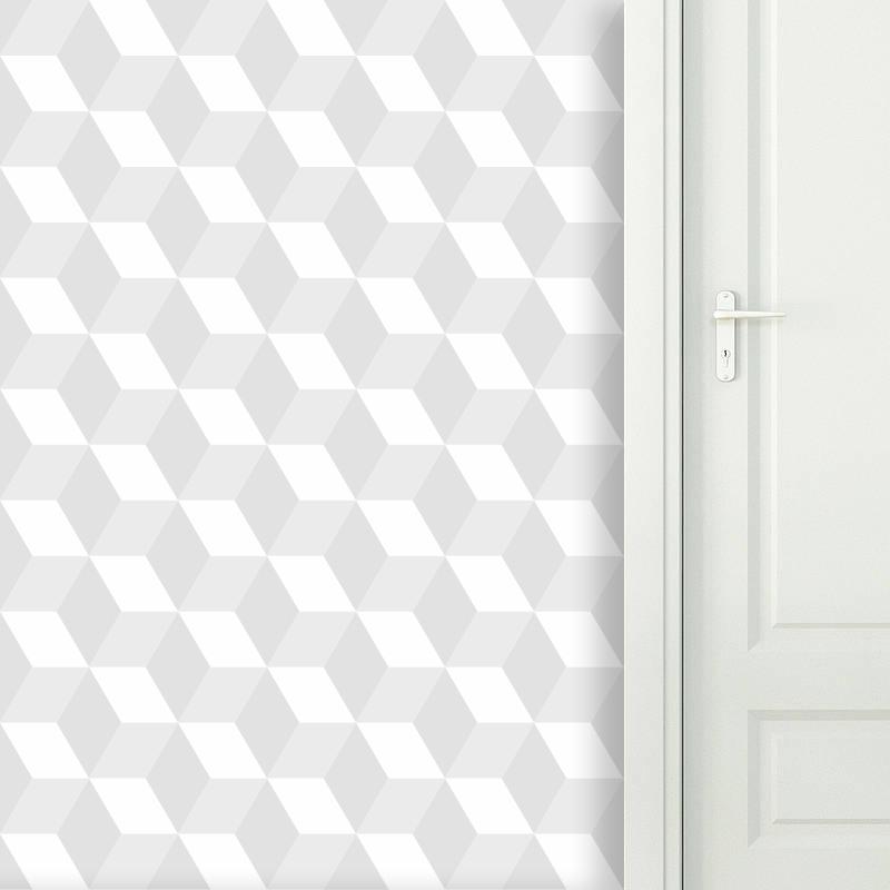 Papel de Parede Cubo 3D Branco  - TaColado