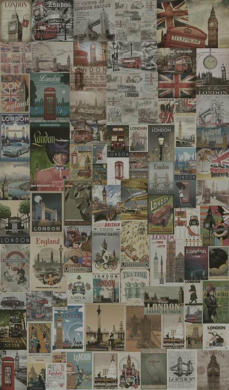 Papel de Parede Adesivo Londres Vintage  - TaColado