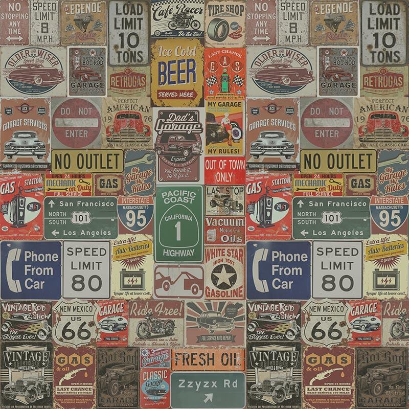 Papel de Parede Adesivo Garagem Vintage  - TaColado