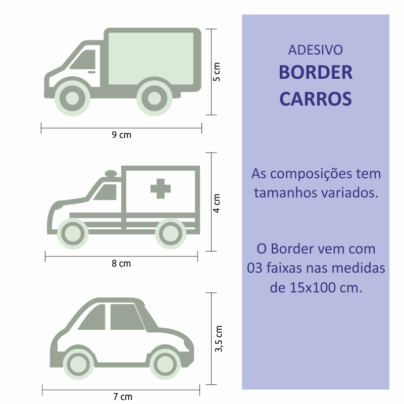 Papel de Parede Border Carros Verde Claro  - TaColado