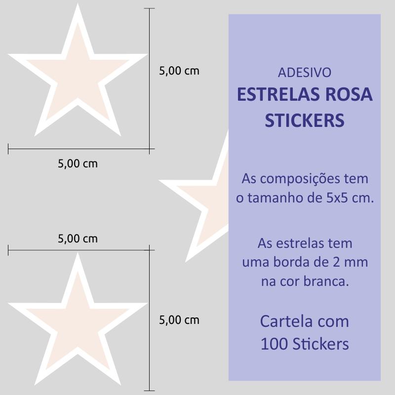 Adesivo Destacável Estrelas Rosa  - TaColado