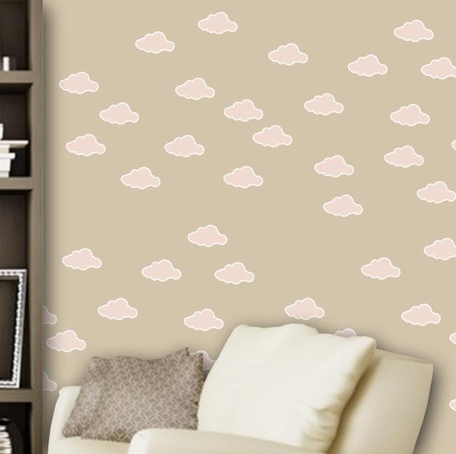 Adesivo Destacável Nuvens Rosa  - TaColado