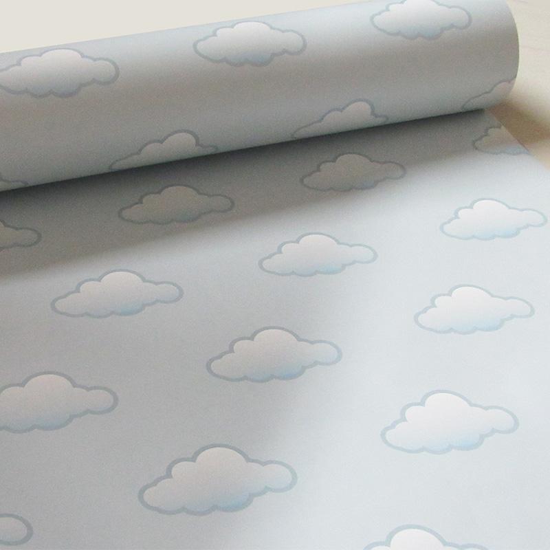 Papel de Parede Quarto de Bebê Nuvens Azul Claro