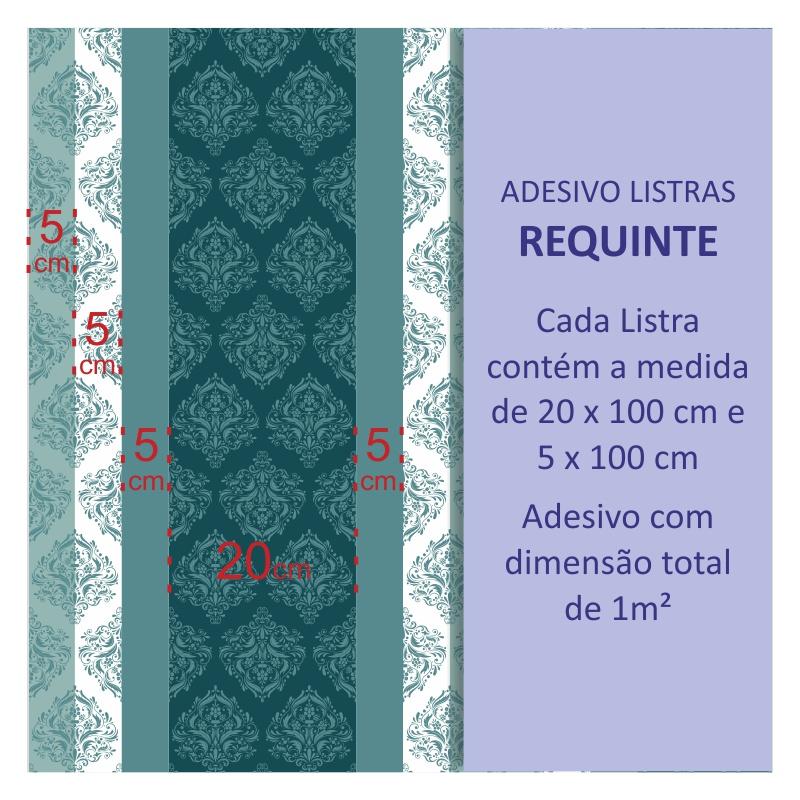 Adesivos de Parede Listras Requinte Azul Turquesa  - TaColado