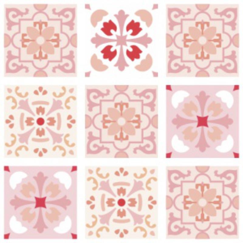 Papel de Parede Adesivo Azulejo Badalona Rosa  - TaColado