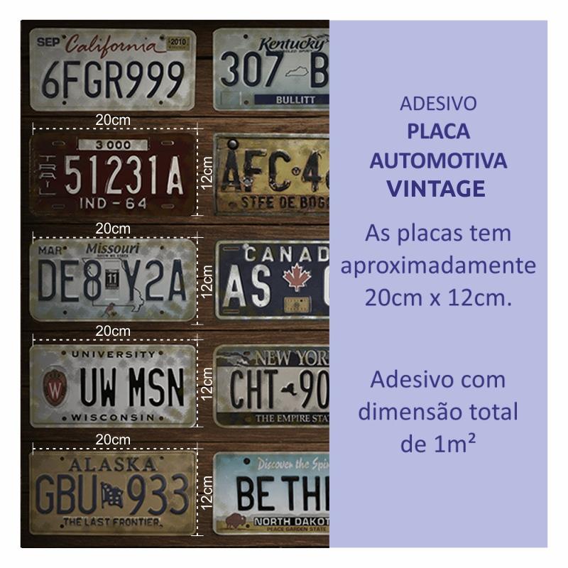 Papel de Parede Adesivo Placa Automotiva Vintage  - TaColado