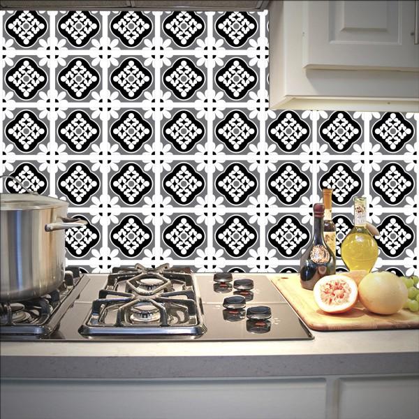 Revestimento Adesivo Azulejo Blanes Preto e Branco -> Decoracao De Banheiro Com Revestimento Preto E Branco