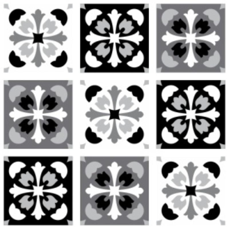 Papel de Parede Azulejo Manresa Preto e Branco  - TaColado