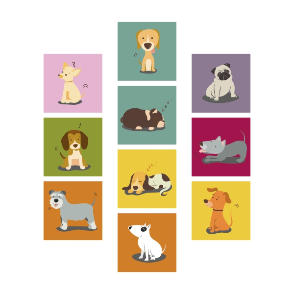 Adesivo Destacável Cachorros Infantil 01  - TaColado