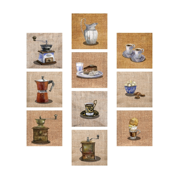 Adesivo Destacável Café Pintura Vintage  - TaColado