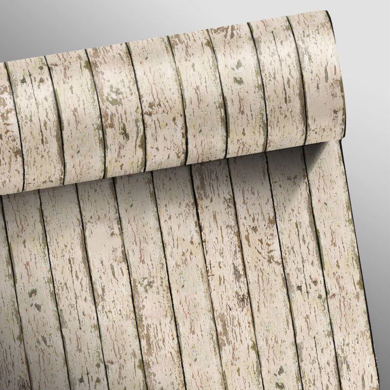Papel de Parede Madeira Demolição Branca  - TaColado